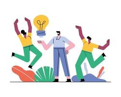 teamworkers characters with bulb outside vector
