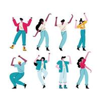 happy young people dancing eight avatars characters vector