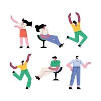 group of people teamwork six workers characters vector