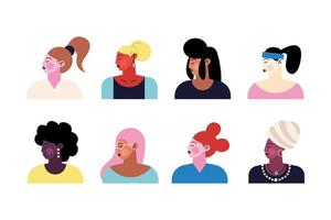 group of eight young girls characters vector