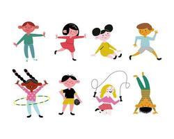 happy little eight kids practicing activities avatars characters vector