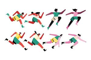 bundle of eight runners athletes characters vector