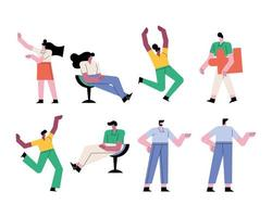 group of people teamwork eight workers characters vector