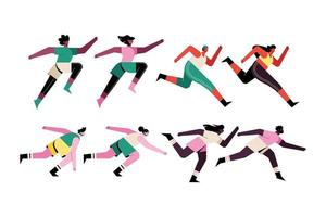 bundle of eight runners characters vector