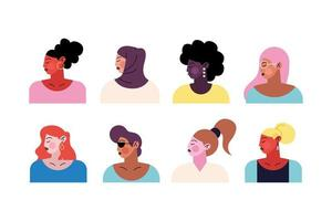group of eight young women characters vector