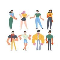 group of eight young people wearing medical masks characters vector