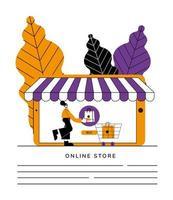 diseño de vector de colección de símbolo de tienda online