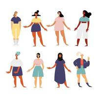 group of eight women characters with diferent dresses vector