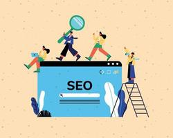 Seo website and people with ladder and icons vector design