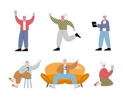 old people using technology characters vector