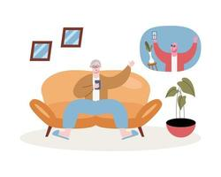 grandfathers using smartphones in video calling in the livingroom vector
