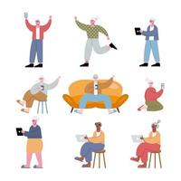 interracial old people using technology vector