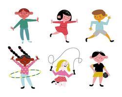 happy little six kids practicing activities avatars characters vector