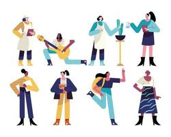 bundle of eight women different professions characters vector