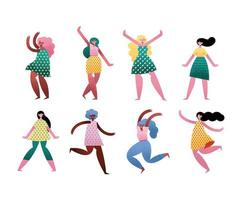 group of eight girls avatars characters vector