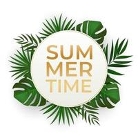 Natural Realistic Black and Gold Palm Leaf Tropical Background. Summer Sale Concept. Vector illustration EPS10