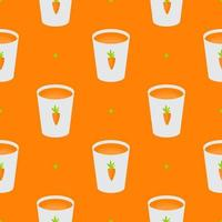 Vitamin Carrot Juice Glass Cup Simple Seamless Pattern Background. Vector Illustration EPS10