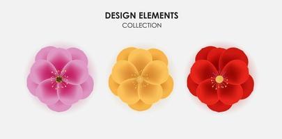 Realista 3d sarura dorado, rojo y rosa, conjunto de colección de iconos de flor de ciruela. ilustración vectorial. Eps10 vector