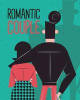 Romantic couple hugging backwards vector design