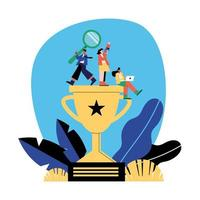 Seo and people on trophy vector design