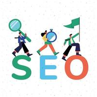 Seo and people with icons vector design