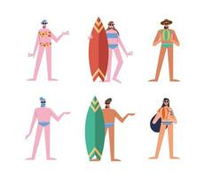 Summer people cartoons with swimwear icon set vector design