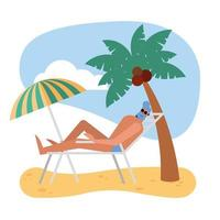 Summer man with swimwear on sunchair at beach vector design