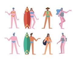 Summer people cartoons with swimwear symbol collection vector design