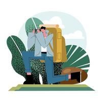 Hiker man cartoon with bag and binoculars in front of leaves vector design