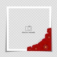 plantilla de marco de fotos de fondo de vacaciones. sarura, fondo de flor de ciruelo para publicar en red social. ilustración vectorial eps10 vector