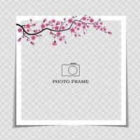 Holiday Background Photo Frame Template. Sarura, plum flower background for post in Social Network. Vector Illustration EPS10