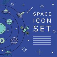 Space icon set in orbit vector design