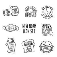 paquete de ocho nuevos iconos de estilo de línea de conjunto de campañas de etiquetado de normas vector