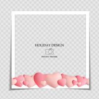 Holiday Background Photo Frame Template. Valentine s Day Love Concept for post in Social Network. Vector Illustration EPS10