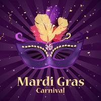 carnaval de mardi gras background.traditional máscara con plumas y confeti para fesival, masquerade, parade.template para invitación de diseño, flyer, poste, banners. ilustración vectorial eps10 vector