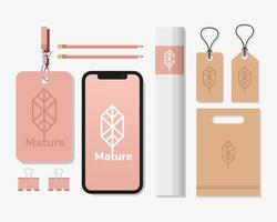 smartphone with bundle of mockup set elements in white background vector