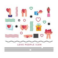hears and bundle of love people set icons and lettering vector