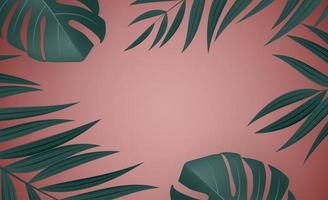 Natural Realistic Green Palm Leaf Tropical Background. Vector illustration EPS10