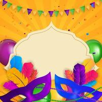 Carnaval Background.Traditional mask with feathers and confetti for fesival, masquerade, parade.Template for design invitation,flyer, poste, banners. Vector Illustration EPS10