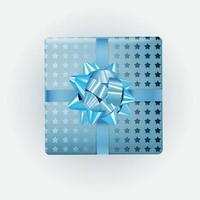 Blue Gift Box with Bow and Ribbon. Vector Illustration EPS10
