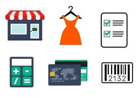 Shopping Flat Simple Icon Collection with Retail Store, Dress, Credit Card, Calculator, Check List and Bar Code. Vector Illustration