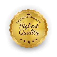 Highest Quality Golden Label Sign. Vector Illustration