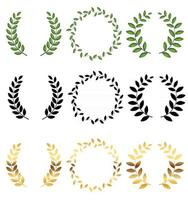 Laurel wreath Collection set isolated on white background. Vector Illustration