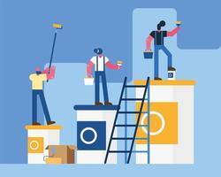 pintores, constructores, trabajadores, equipo, remodelación, escena vector