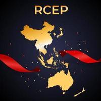 Holiday concept Modern Regional Comprehensive Economic PartnershipRCEP map. Vector Illustration