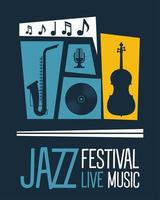 jazz festival poster with instruments and lettering vector