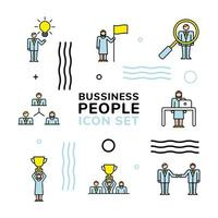 bundle of business people team and lettering vector