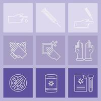 bundle of nine covid19 test set icons vector