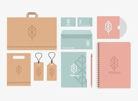 notebook and bundle of mockup set elements in white background vector