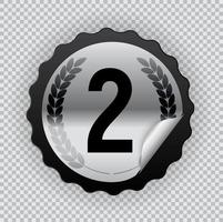 Silver medal. Icon Second place. Vector Illustration